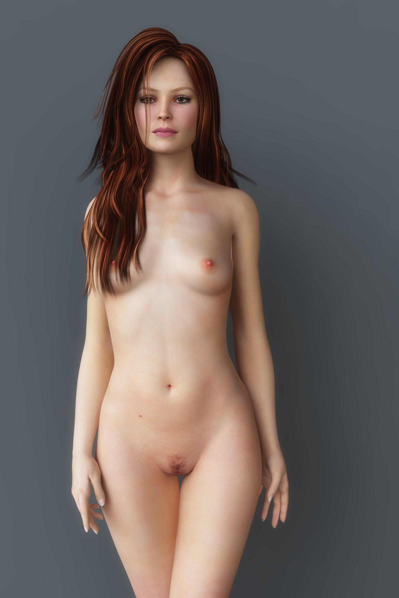 An elderly woman naked