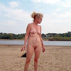 mature woman at nudist beach naked