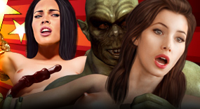 Sexy Hellywood chicks get their brains fucked out by an army of horrible pussy-hunting monsters!